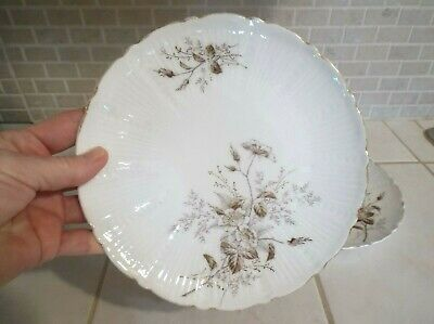 Lot of Two Antique Hermann Ohme Floral Embossed Plates Silesia Germany