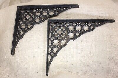 """2 Shelf supports brackets 8"""" X 10"""" old Gothic clover rustic cast iron vintage"""