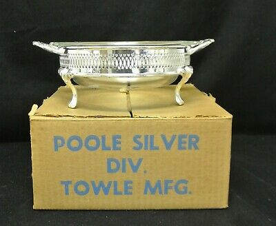 Footed Silver Plate Casserole by Poole Silver w/ Anchor Hocking Glass Insert