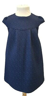 Girls Dress Outfit Kids Baby Occasion Party Wedding Formal Navy Short Sleeve