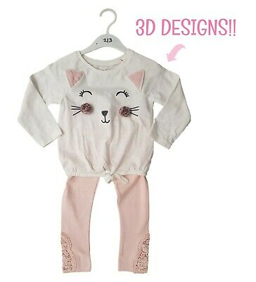 Girls Kitty 2 Piece Set Outfit Top Tshirt & Leggings Casual 3D Cat Design