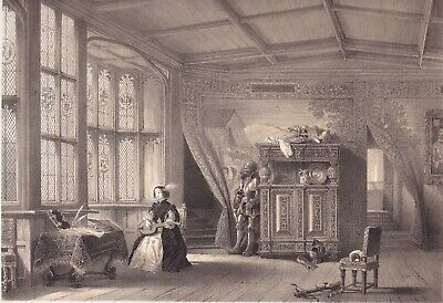 1872  Two Antique Lithographs - Knole House, Kent - Cartoon Gallery & Chapel