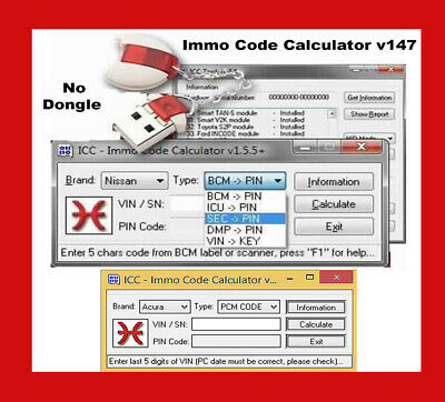 ICC IMMO Code Calculator v147 VIN PIN SOFTWARE IMMOBILIZER ECU [*Soft-Only*]