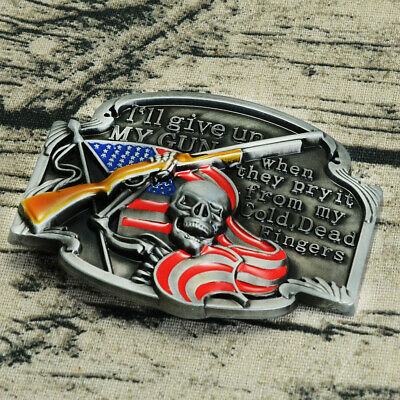 Alloy Metal Skull With A Gun Pattern Men's Western Cowboy Vintage Belt Buckle