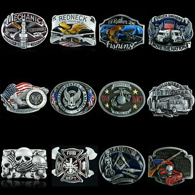 Men's Alloy Metal Vintage 3D Patterns Cowboy Western Fashion Leather Belt Buckle