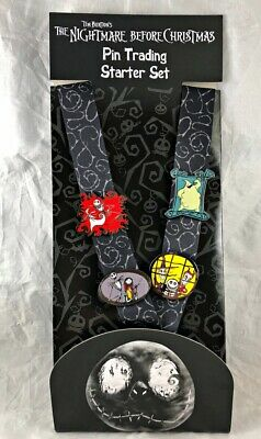 Disney Parks Nightmare Before Christmas Pin Trading Starter Set Lanyard Card NEW