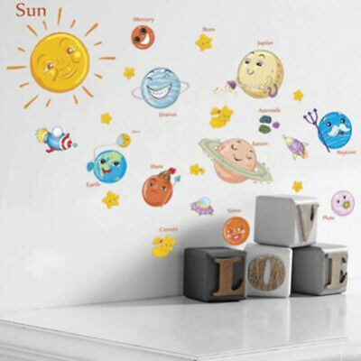 Cute Cartoon Solar System Wall Stickers For Children Rooms Stars Outer Space CB