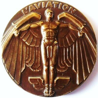 L'aviation .medaille Bronze Pour Rallye Auto 1955 .diametre 4 Cm