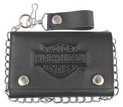 Harley-Davidson® Mens Embossed Tri-Fold Black Leather Chain Wallet XML3514-BLACK