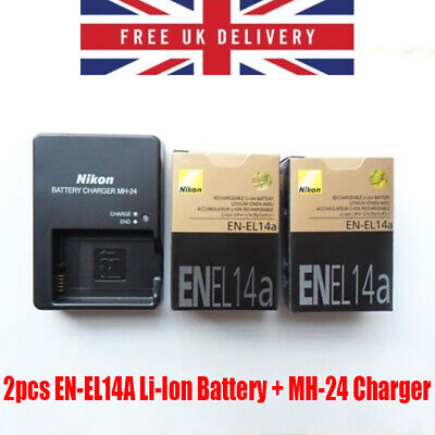 2pcs EN-EL14A Li-Ion Battery + MH-24 Charger For Nikon Camera D3100 D5300 P7000