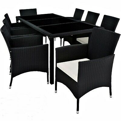 Extra Large Dining Table Set Garden Patio Outdoor Black Rattan With 8 Armchairs