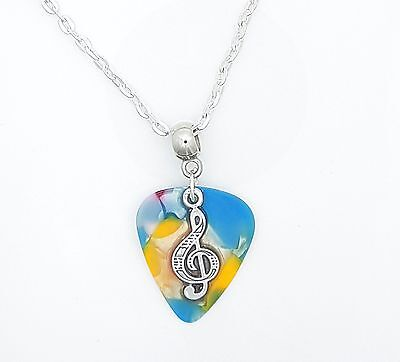 Blue Marble Guitar Pick Silver Tone Necklace With Treble Clef In Resin