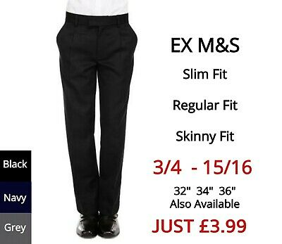 Boys School Trousers Navy Grey Black Charcoal Uniform Slim Regular Skinny ExM+S