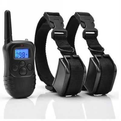 Waterproof Rechargeable Electric Remote for 2 Dog Shock Training Collar 330 Yard