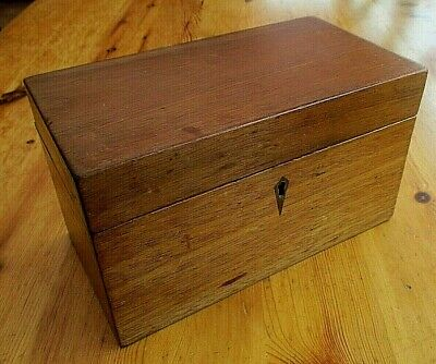 Antique Victorian Mahogany Wood Tea Caddy With Lock