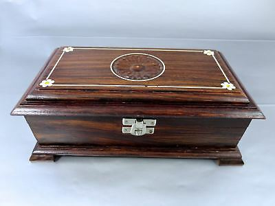 Vintage CARVED EXOTIC ROSEWOOD & INLAID JEWELRY BOX W/MIRROR