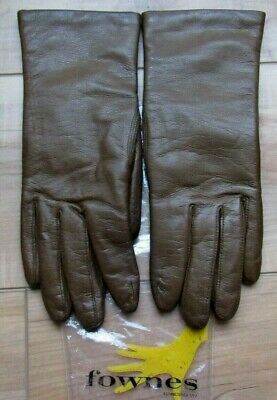 Vintage FOWNES Brown Leather Driving Gloves, Acrylic Lined, Size 7 1/2