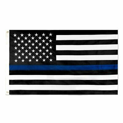 3x5 FT American Flag Thin Blue Line Patriotic 4th July Embroidered Stars U.S.A.