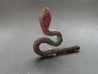 NILE  Ancient Egyptian Bronze Cobra Amulet  ca 600 BC