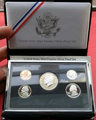 1992 S United States Mint Silver Proof Set 5 Coin set with Box and COA