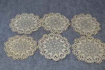 doilies cotton net needle lace Victorian 6 matching 5 in. white antique vg
