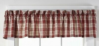 country rustic farmhouse cabin kitchen Barnyard red white plaid VALANCE curtain