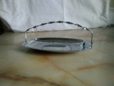 Mid-Century Chrome Serving Plate with Twisted Handle