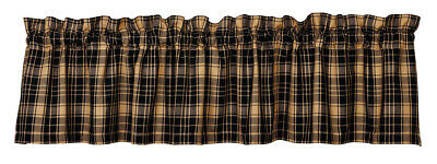 country rustic farmhouse cabin Heritage Check Black tan plaid VALANCE curtain
