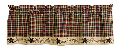 country rustic primitive farmhouse Tangled Berries & Stars plaid VALANCE curtain