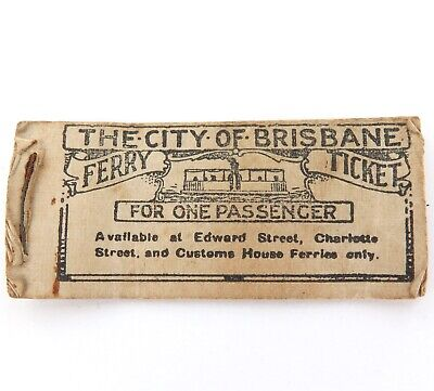 SUPER RARE 1800s / EARLY 1900s BOOK OF 7 STEAM FERRY TICKETS CITY OF BRISBANE.
