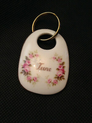 "Royal Albert English Bone China Flower of The Month ""June"" Key Ring Very Cute!"