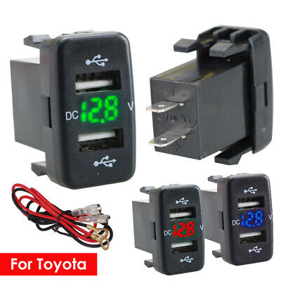 12-24V Dual USB Car Charger Socket Voltmeter 4.2A Power Adapter Fit to Toyota