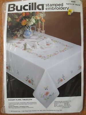 bucilla  floral tablecloth stamped embroidery 60""