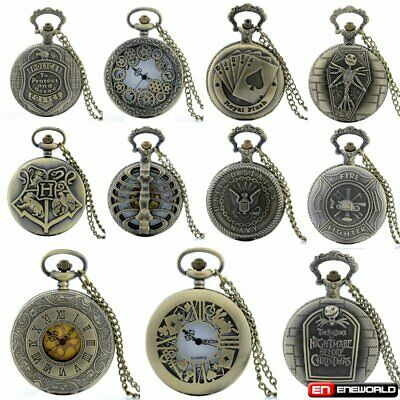 Steampunk Design Vintage Retro Pocket Watch Quartz Necklace Chain Mens Antique