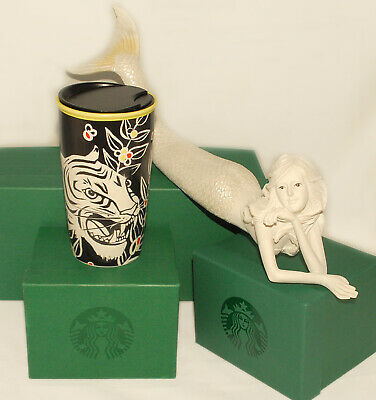 STARBUCKS - 2018 - Black White TIGER - Double Wall Ceramic TRAVELER TUMBLER *NEW