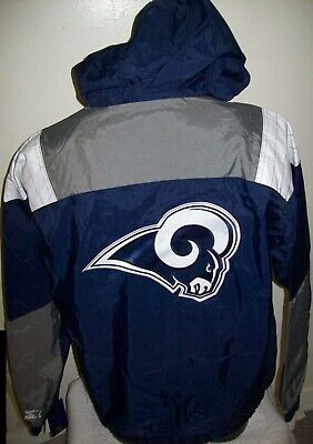 watch c8b9f 359ac RAMS NFL STARTER Hooded Half Zip Pullover Jacket SPRING/SUMMER 3 Color