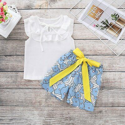 Pretty Toddler Baby Girls Sleeveless Chiffion Top+Print Short Pants Set Outfit