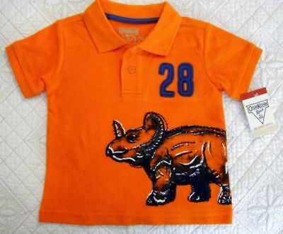 Oshkosh Baby Boys Orange Pique' Polo Shirt Dinosaur Size 12 Months NWT