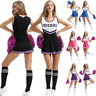 Ladies Cheerleader Uniform School Girl Costume Outfits Fancy Dress Costume