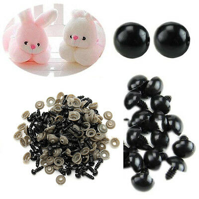 100pcs 6-14mm Black Plastic Safety Eyes For Teddy Bears/Dolls/Toy Animal/Felting