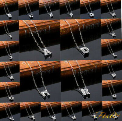 Zircon Crystal 925-Sterling Silver Initial Alphabet A-Z Letter Necklace Pendant
