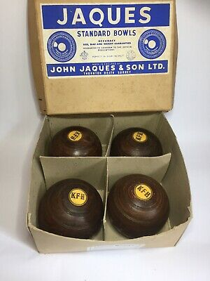 Lignum Vitae Lawn Bowls Set 4 Jaques & Son With Original Box Bias No3