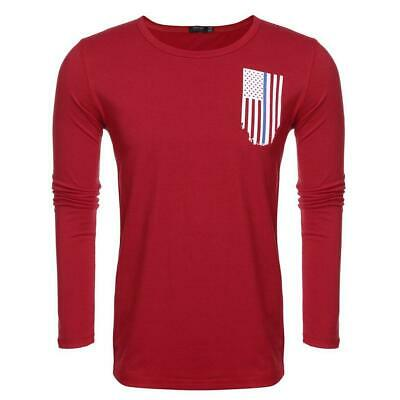 Men Fashion Casual Round Neck Long Sleeve Flag Print T-Shirt Top WST 03