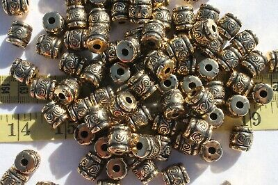 Large Lot Of Barrel Large Plastic Antique Gold Crafts Jewelry Beads/100pcs