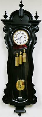 Antique 8 Day Triple Weight Ebonised Grande Sonnerie Vienna Regulator Wall Clock