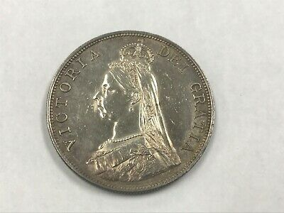 1887 Great Britain Silver Double Florin Toned Au Cleaned Arabic 1 KM 763 *Q1A5