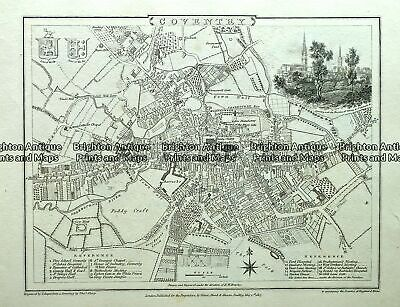 Antique map - Coventry Street Map by Verner, Hood & Sharpe c.1805  Ref#232-721
