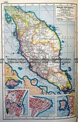Antique map - Malay Peninsula by Harmsworth c.1920  Ref#232-733 South East Asia