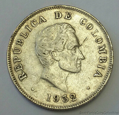 1932-B .900 Silver Columbia 50 Centavos Coin Lower Mintage Than M Mint