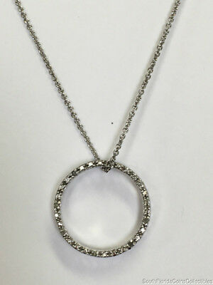 "Estate Jewelry Ladies Diamond Circle Pendant Necklace Sterling Silver 17"" Long"